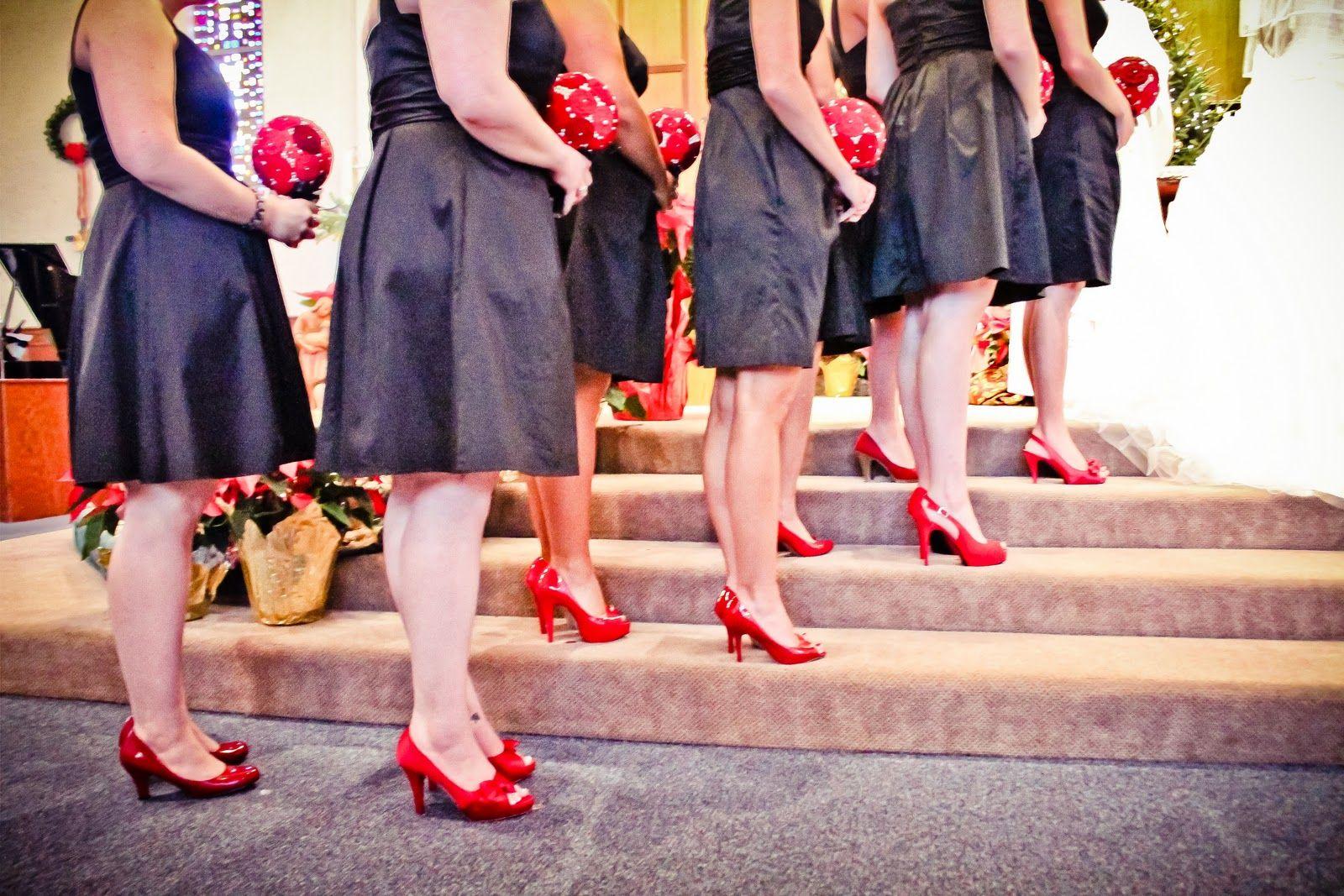 Bridesmaids In Black Dresses Google Search Black Dress Red Shoes Black Dress Red Heels Red Bridesmaids [ 1067 x 1600 Pixel ]
