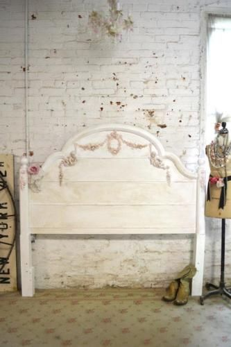 French Bed Painted Cottage Shabby Chic Bed Romantic Queen /Full/ Bed ...