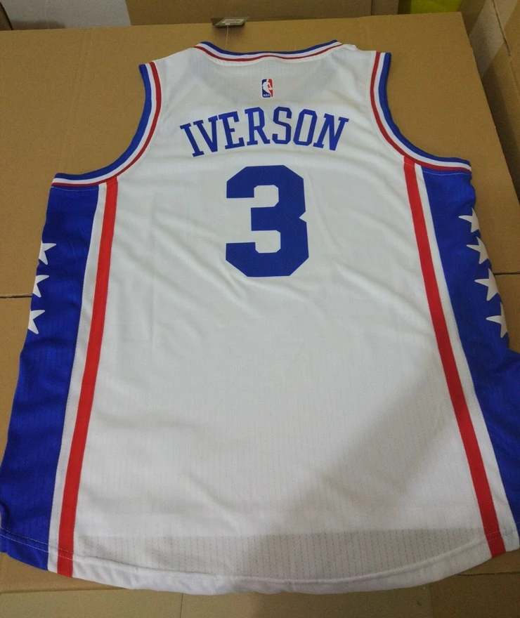 2018 Men 3 Allen Iverson Jersey White color Philadelphia