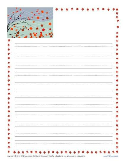 Fall Printable Lined Writing Paper Writing paper, Language arts - printable lines paper