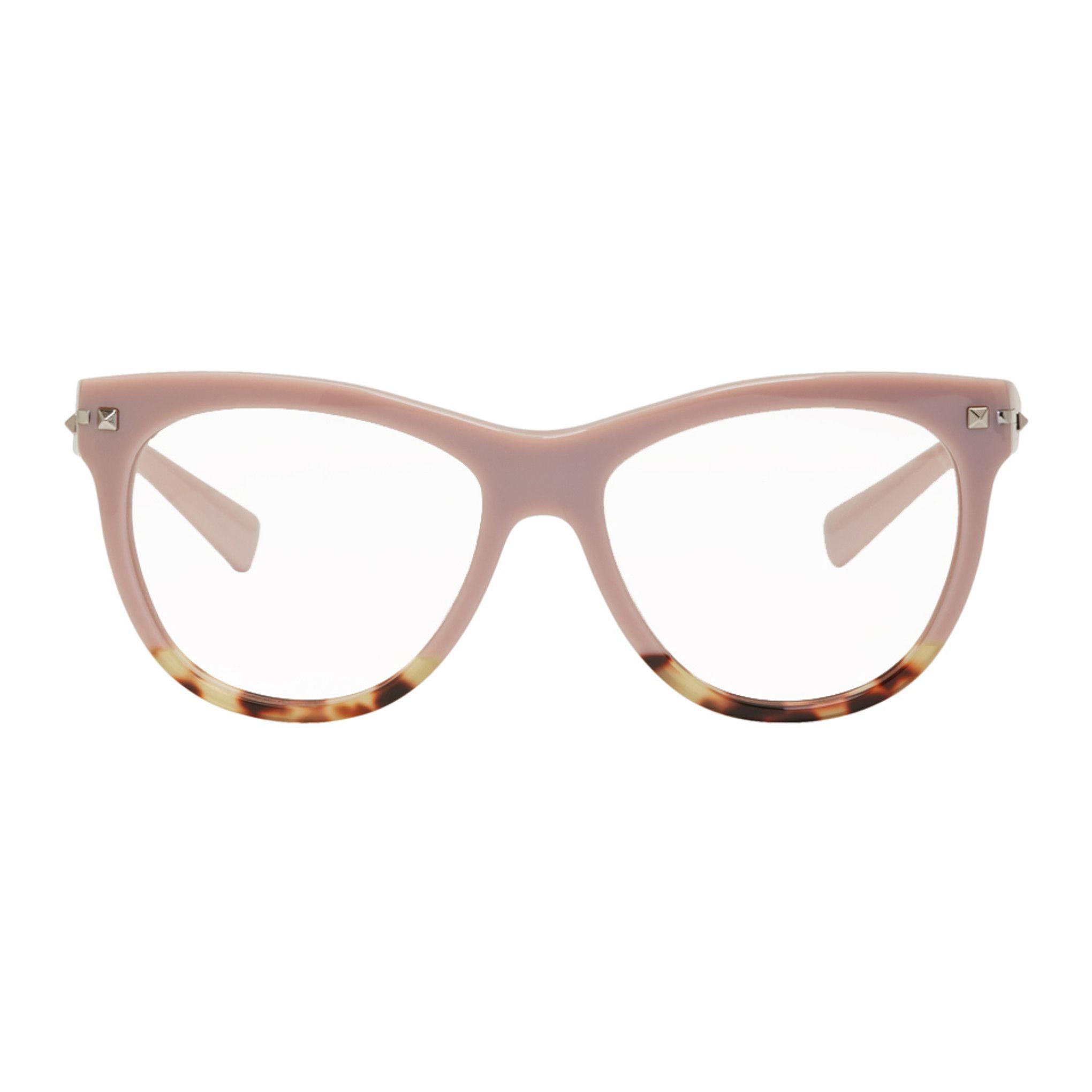 b787547a5fa Valentino - Pink Valentino Garavani Sartorial Rockstud Glasses Round  Eyeglasses