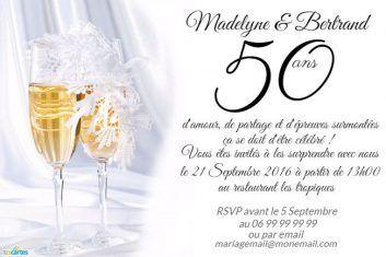 Invitation Anniversaire De Mariage 50 Ans