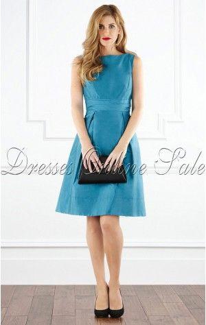 Royal A-line Knee-length Jewel Blue Satin Dress | Dresses ...