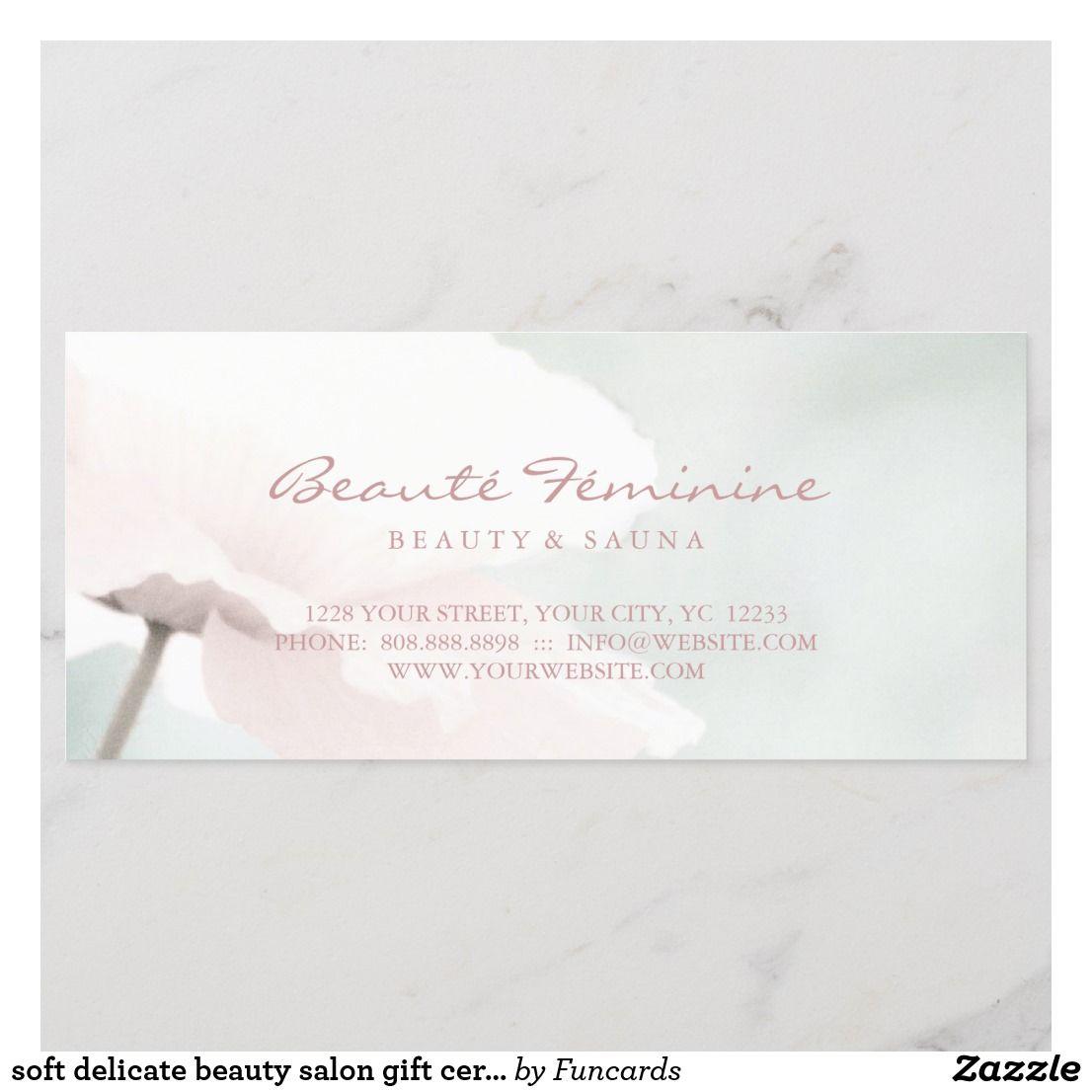 soft delicate beauty salon gift certificate  Zazzle.com  Salon