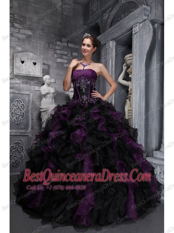 black and purple wedding dresses | ... Purple /Black Organza ...