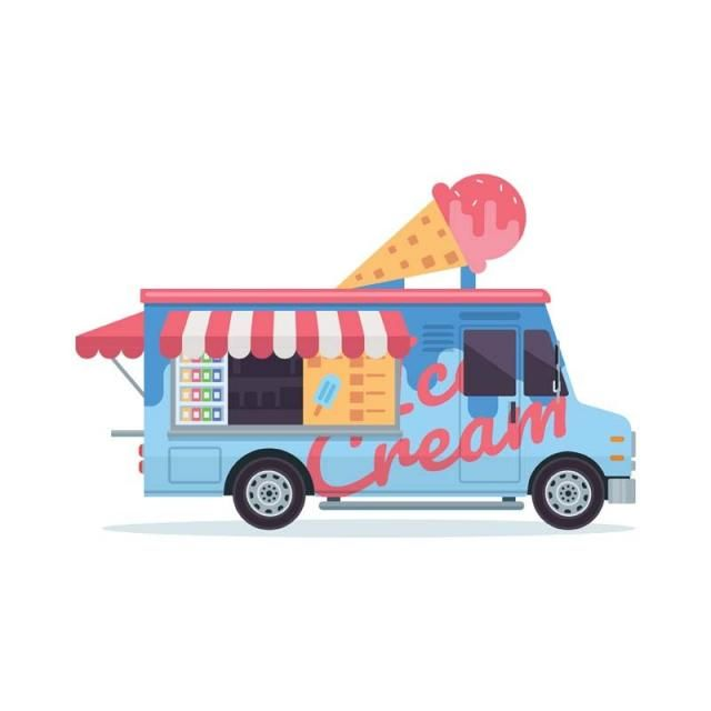 Modern Delicious Ice Cream Commercial Food Truck Vehicle Street Food Park Png And Vector With Transparent Background For Free Download Ice Cream Car Ice Cream Truck Food Truck