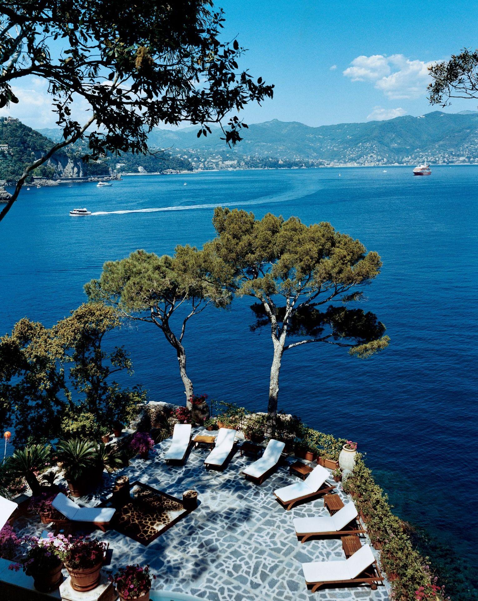 The terrace of Domenico Dolce and Stefano Gabbana's Portofino home, Villa Olivetta. Photographed by François Halard, Vogue, 2005.