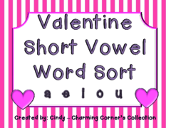 Happy Valentine's Day! - Time for a Valentine giveaway! Good luck and Happy Valentine's Day! :o).  A GIVEAWAY promotion for Valentine Short Vowel Word Sort from Charming Corner's Collection on TeachersNotebook.com (ends on 2-12-2015)