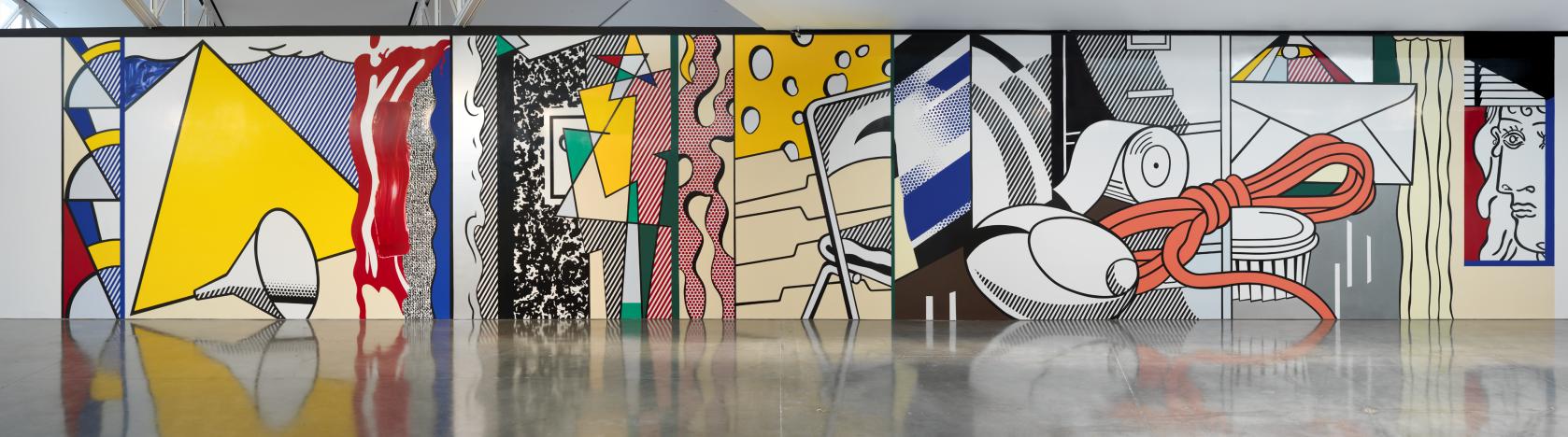 """ROB MCKEEVER, """"ROY LICHTENSTEIN: Greene Street Mural,"""" Installation view, Artwork © Estate of Roy Lichtenstein, 2015, Gagosian Gallery 555 West 24th Street New York, NY 10011"""
