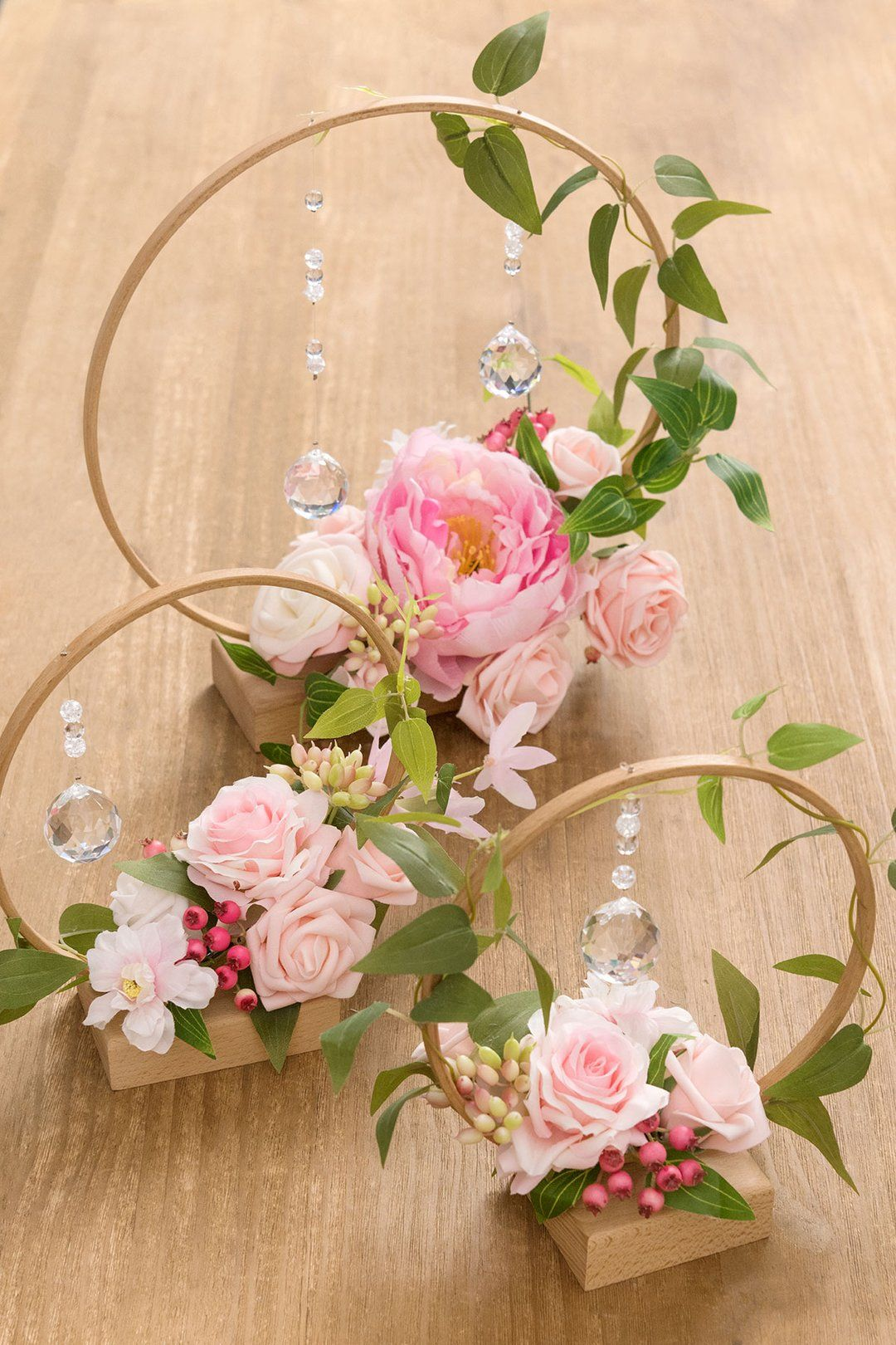 Wood Floral Centerpieces (Set of 3) - French Blush