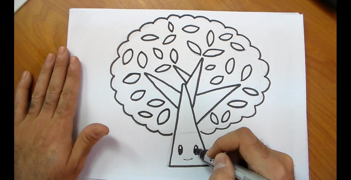خطوات رسم شجرة كيوت للأطفال للتلوين Cards Art Calligraphy