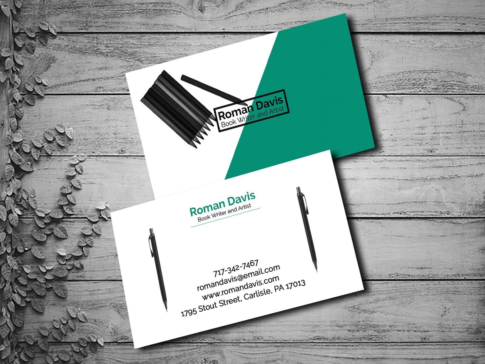 Writer Business Card Design Business Card Design Business Cards Collection Card Design