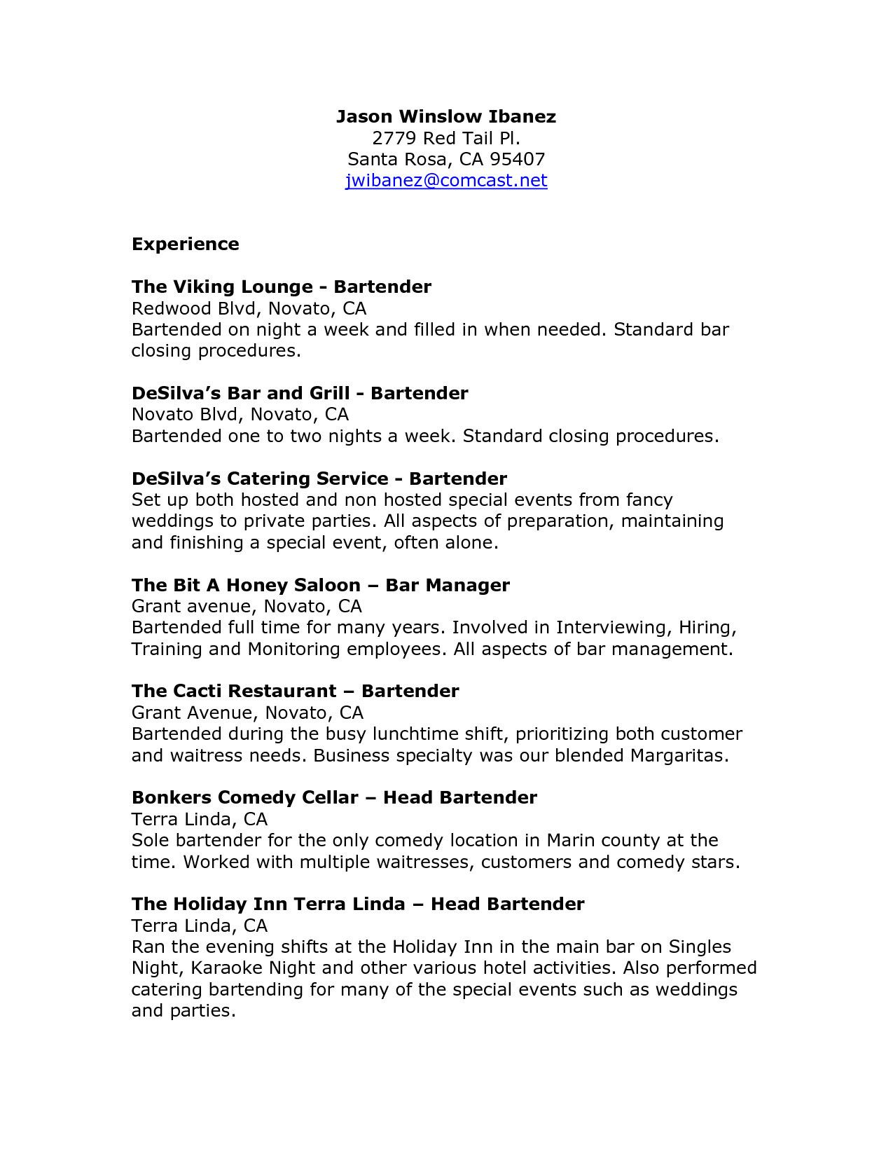 Staff Adjuster Cover Letter 27 Cover Letter For Bartender Cover Letter For Bartender Cover