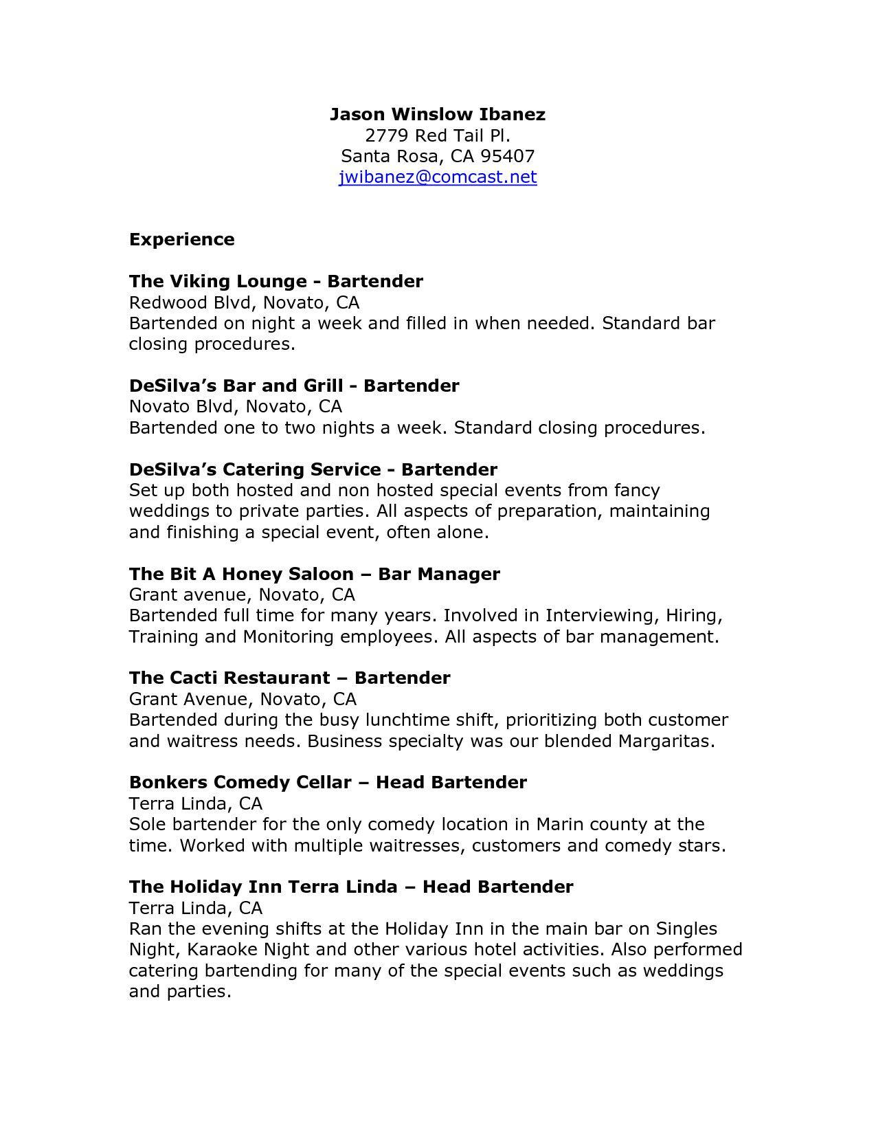 27+ Cover Letter For Bartender . Cover Letter For Bartender Cover ...