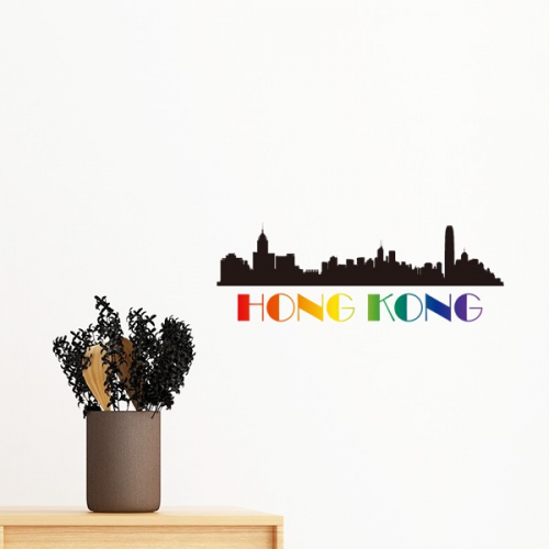 lgbt rainbow flag hong kong removable wall sticker art decals mural