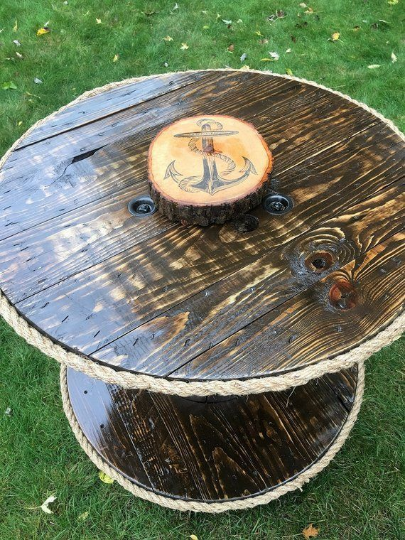 SOLD - Spool Table, Cable Spool Table, Nautical Furniture, Lazy Susan, Distressed, Shabby Chic, Upcycled, Reclaimed, Refinished, Repurposed #cablespooltables SOLD - Spool Table, Cable Spool Table, Nautical Furniture, Lazy Susan, Distressed, Shabby Chic, Upcy #cablespooltables