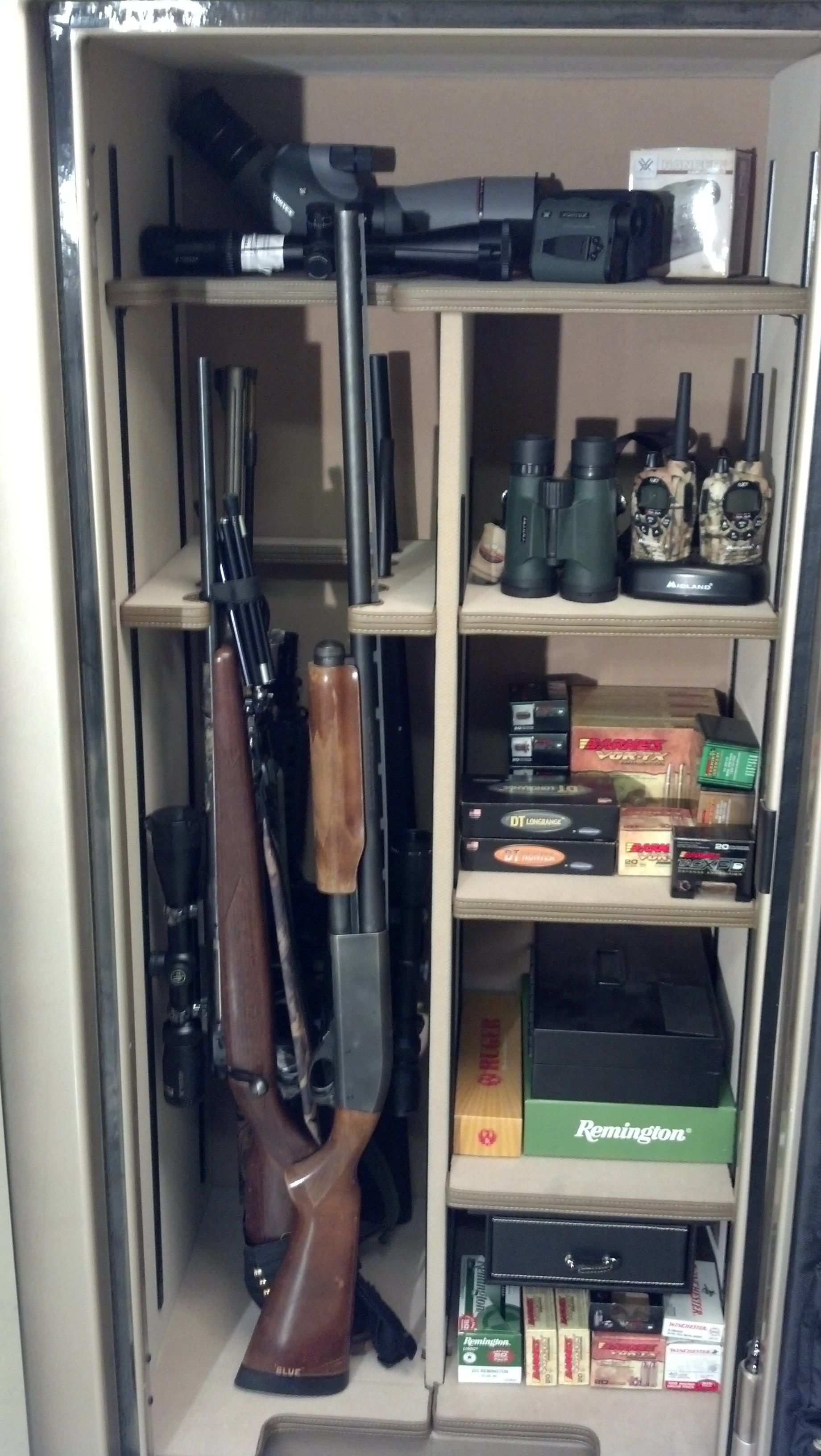 Ideal gun safe set up Gun Safe loaded for hunting