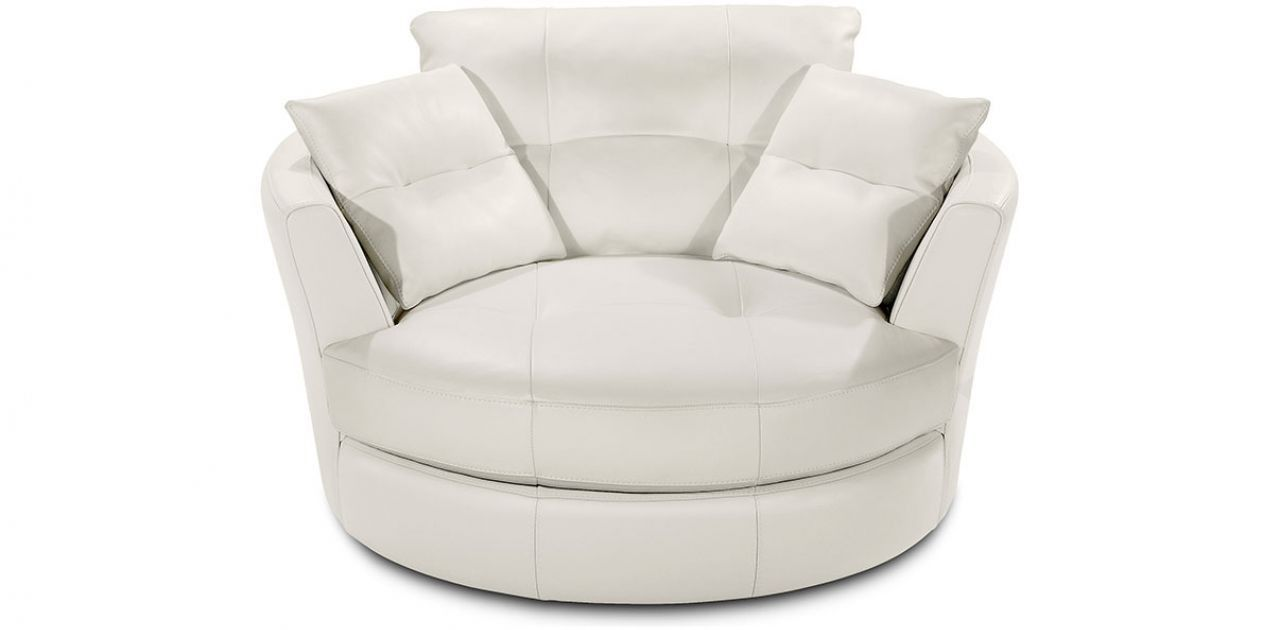 White Leather Swivel Chair | SWIVEL CUDDLE CHAIR White ...