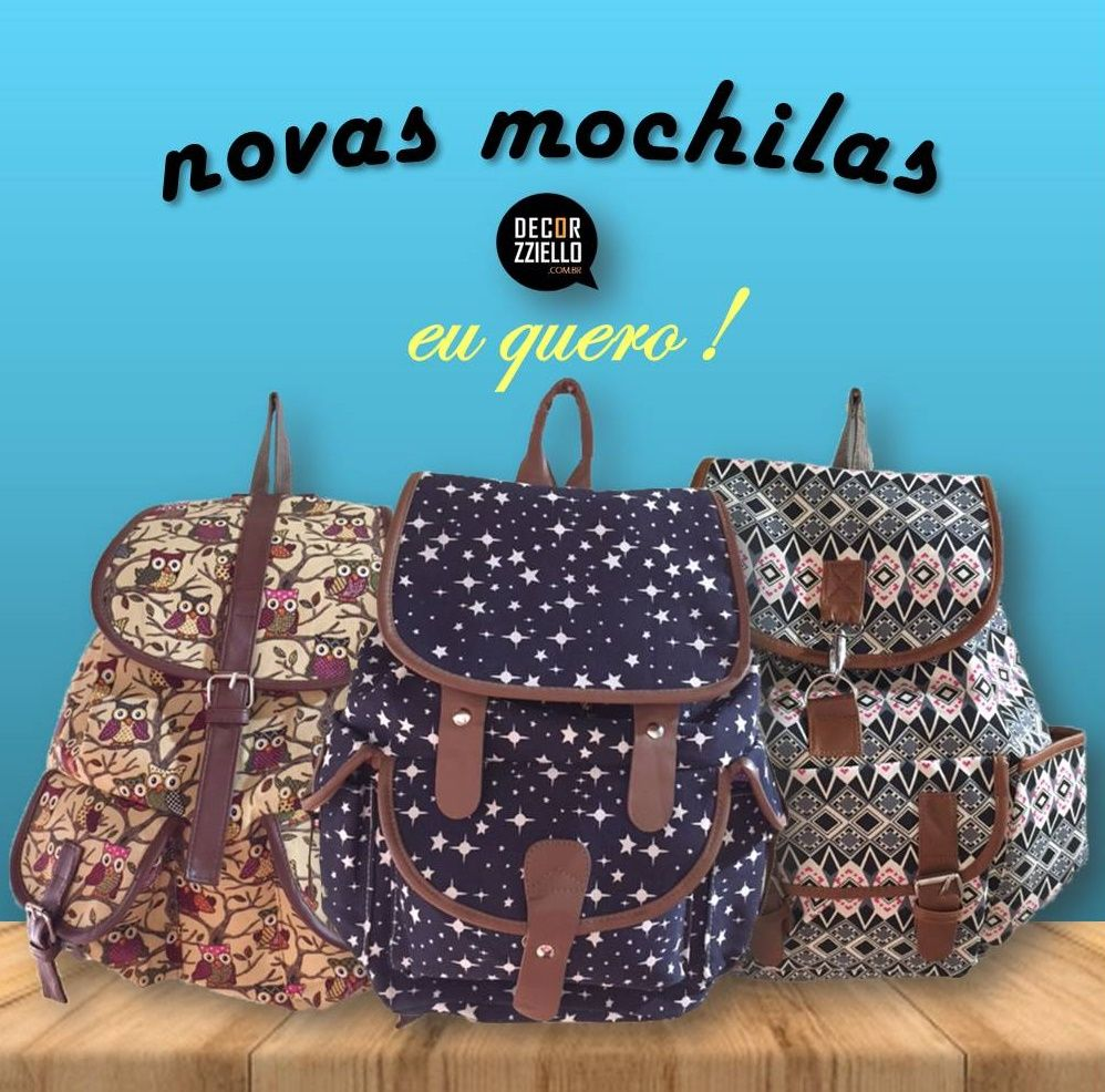 Mochilas com estampas diferentes para arrasar no dia a dia ou em viagens.... #mochila #mochilas #mochilaétnica #mochilaestrela #mochilacorujinhas