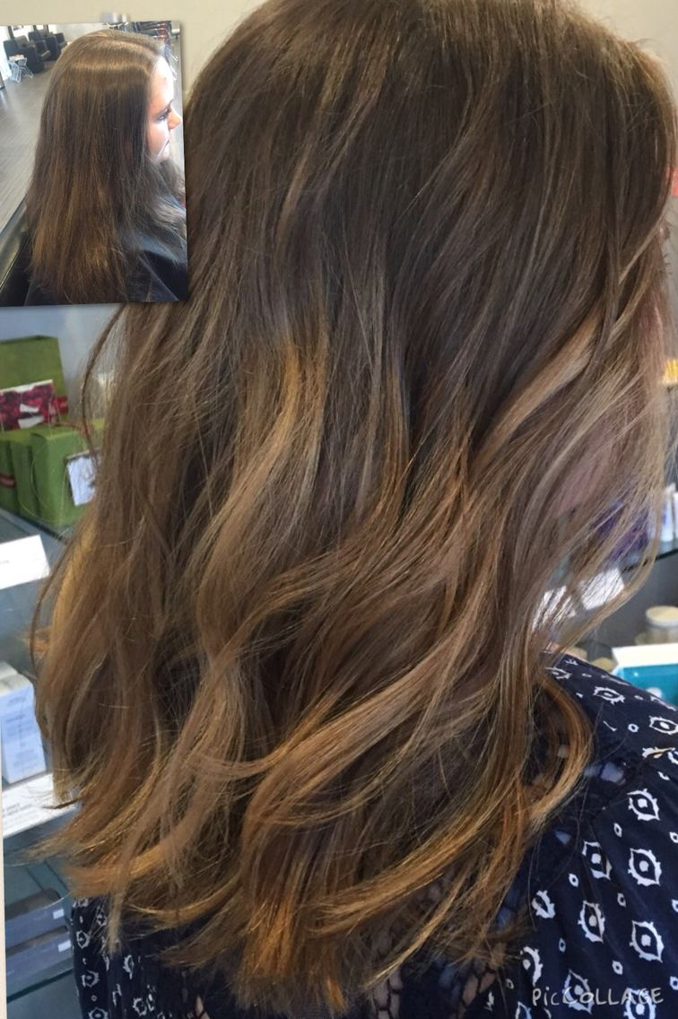 Balayage Highlights Before After Blonde Caramel Dark Root Hair