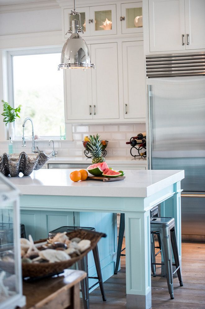 coastal white kitchen with turquoise island quartz kitchen countertops white home kitchens on kitchen island ideas white quartz id=44681