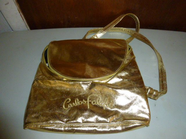e0cc2e58770f Carlos Falchi Gold Metallic Backpack Bag