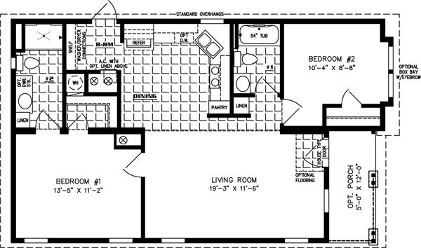 Manufactured Home Floor Plan The Imperial Model Imp 6402a 2 Bedrooms 2 Baths Manufactured Homes Floor Plans Manufactured Home House Floor Plans