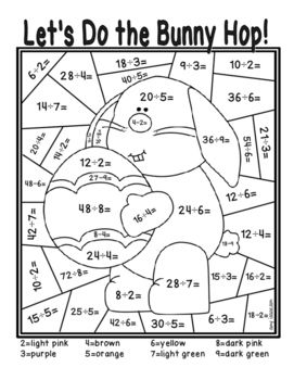 Easter Division Color By Number Elementary School Math Activities Fun Math Worksheets Easter Math Worksheets