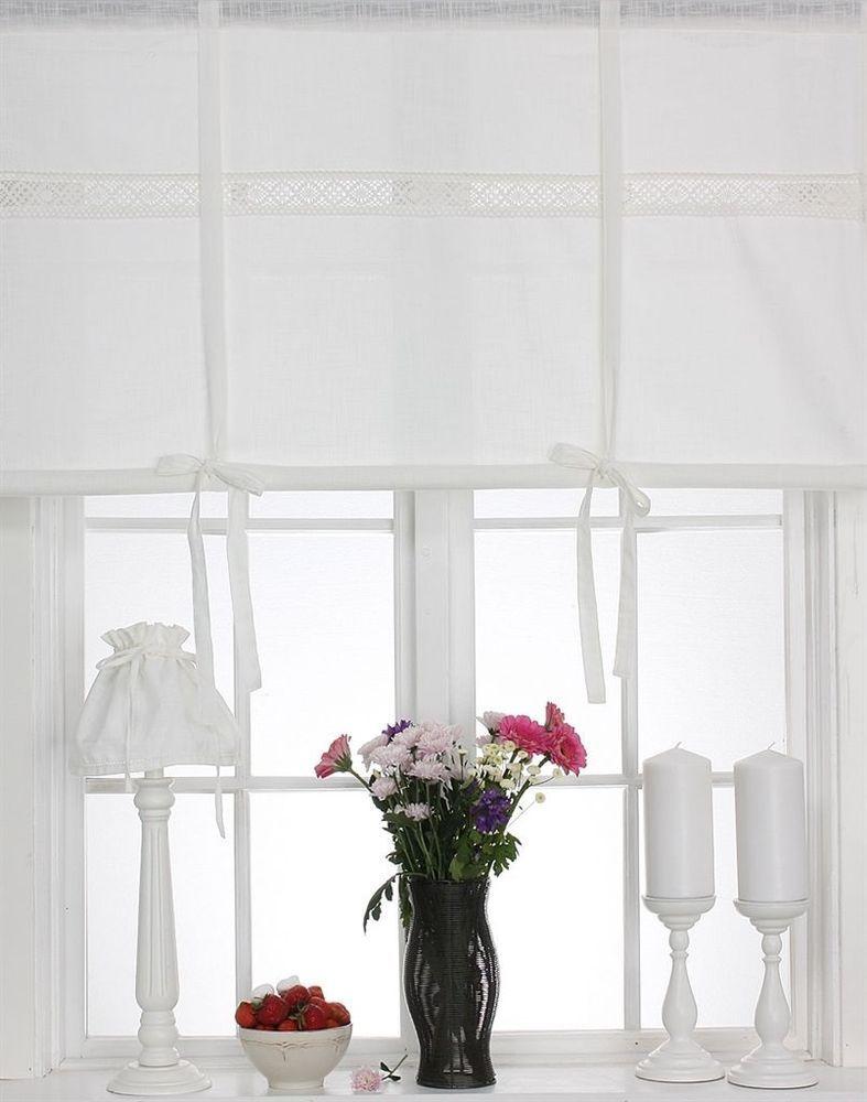Rollos Gardinen Vorhänge white raffrollo 160x120cm leinenoptik raffgardine landhaus