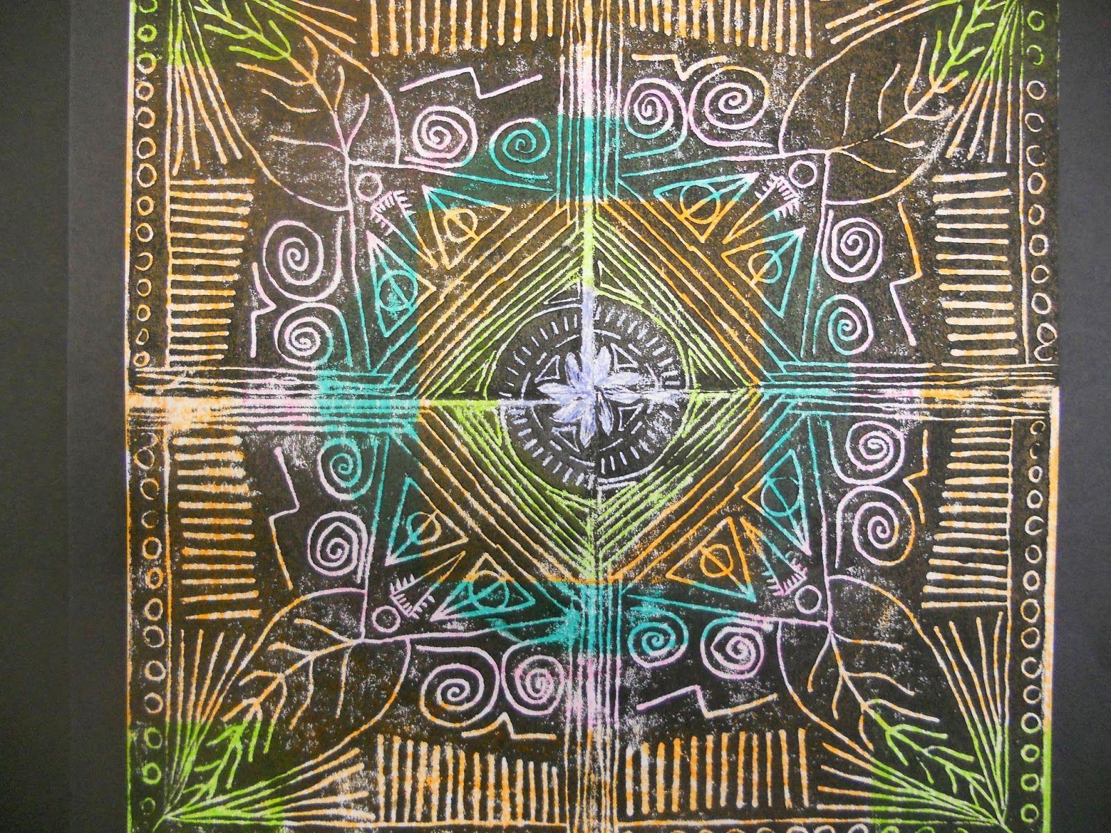 5th Grade Rotational Symmetry Printmaking