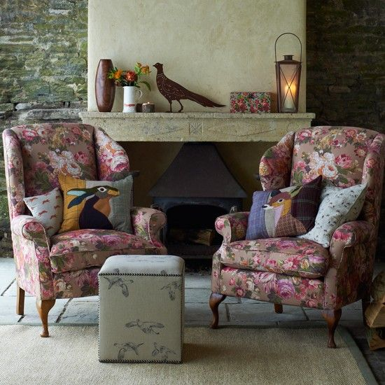 Decorating with oversized florals Armchairs, Living rooms and