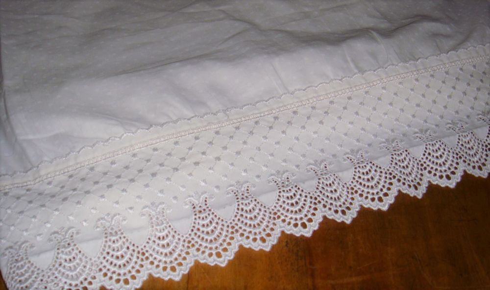 charisma fieldcrest lace classic dot white twin flat sheet usa supima 310 tc fieldcrest