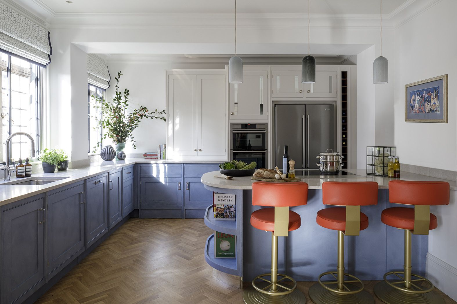 Best Bespoke Blue Kitchen And Red Bar Stools Design By Gunter 400 x 300