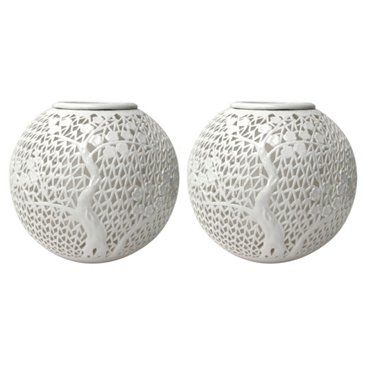 Check out this item at One Kings Lane! Pierced Porcelain Lantern Vases, Pair
