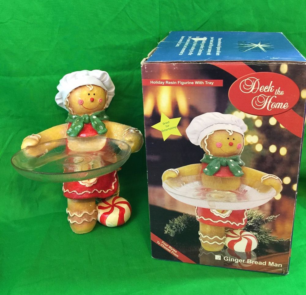 Deck The Home Gingerbread Man Holiday Resin Figurine With Tray Collectible   | eBay