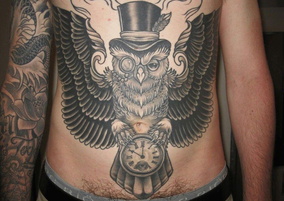 Top Hat Owl Uhr Tatowierungen Tatowierungen Taschenuhr Tattoo Design