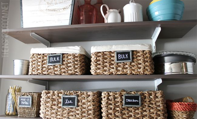 pantry organization with baskets and chalkboard labels