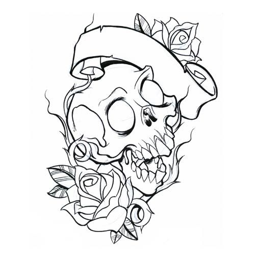 Roses And Skull Coloring Pages For Adults Jpg 500 500 Skull Coloring Pages Tattoo Coloring Book Skull Tattoo Design