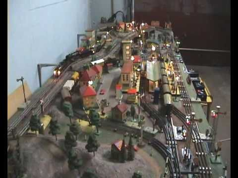 0 Gauge Train Layout In Garage Youtube Model Trains Ho Model Trains Model Train Scenery