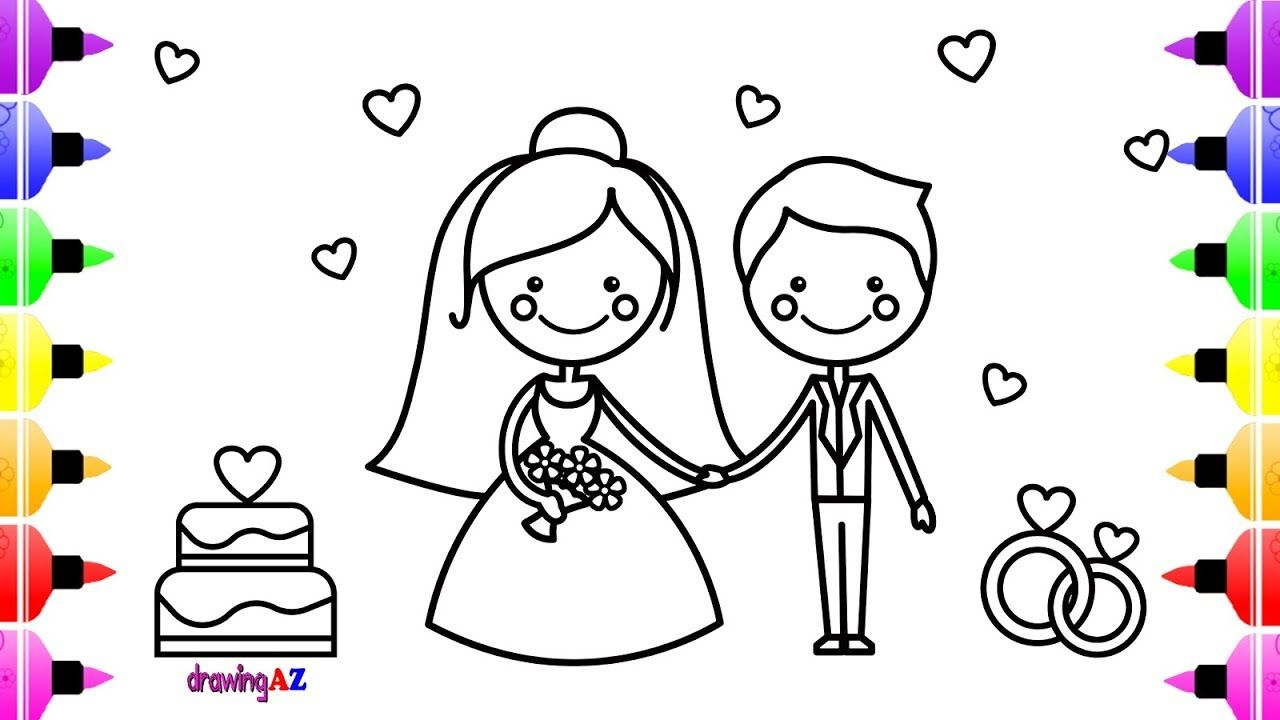 Wedding Bride and Groom Coloring Book | How to draw House ...