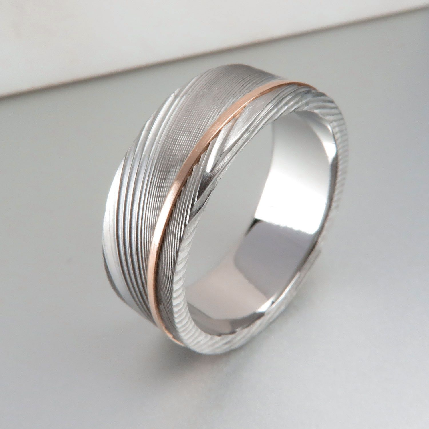 Stainless Damascus Rose Gold Stripe Ring Damascus Weddings and