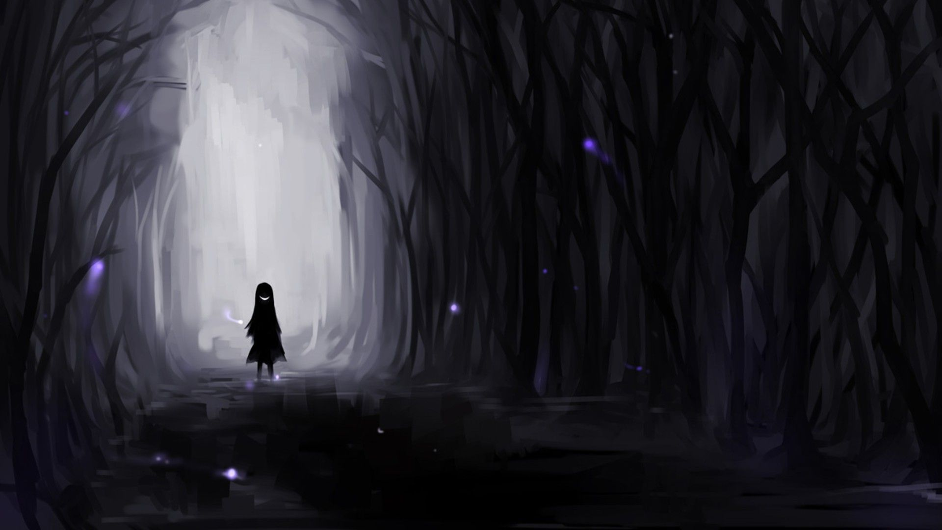Dark Forest 1980x1080 Animewallpaper Papel De Parede Escuro Anime Negra Papel De Parede Floresta