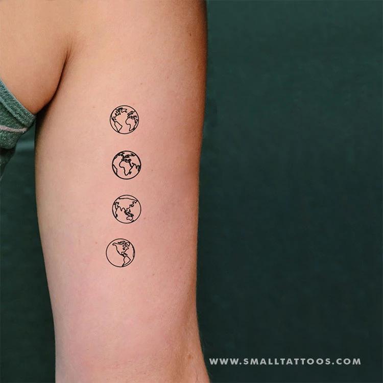 وشم مؤقت كوكب الأرض الصغير مجموعة 4 2 Small Tattoos Globe Tattoos Brain Tattoo