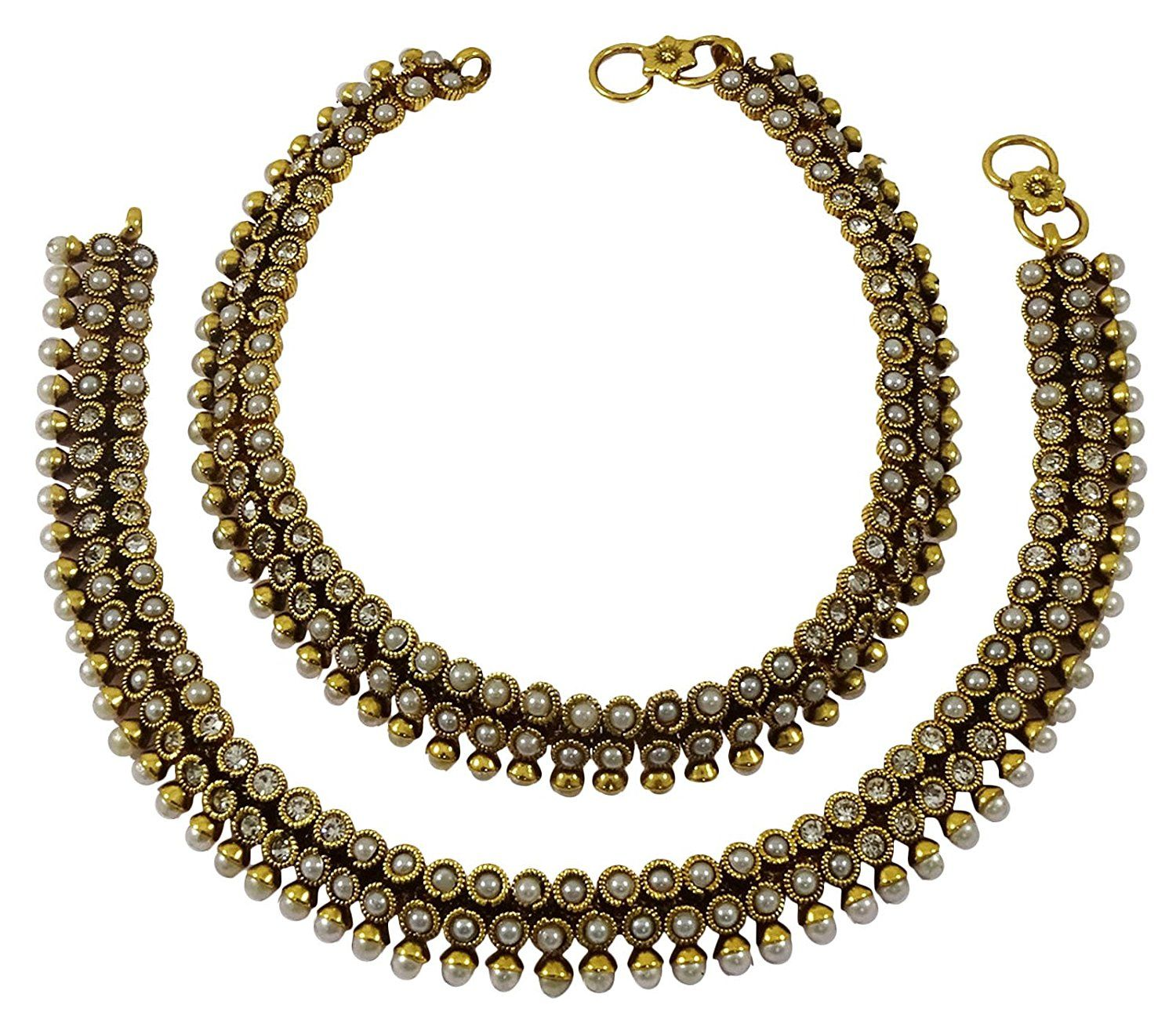 Goldtone Traditional Ethnic Bollywood Style Anklet Set Foot Payal Jewellery Engagement & Wedding Bridal & Wedding Party Jewelry