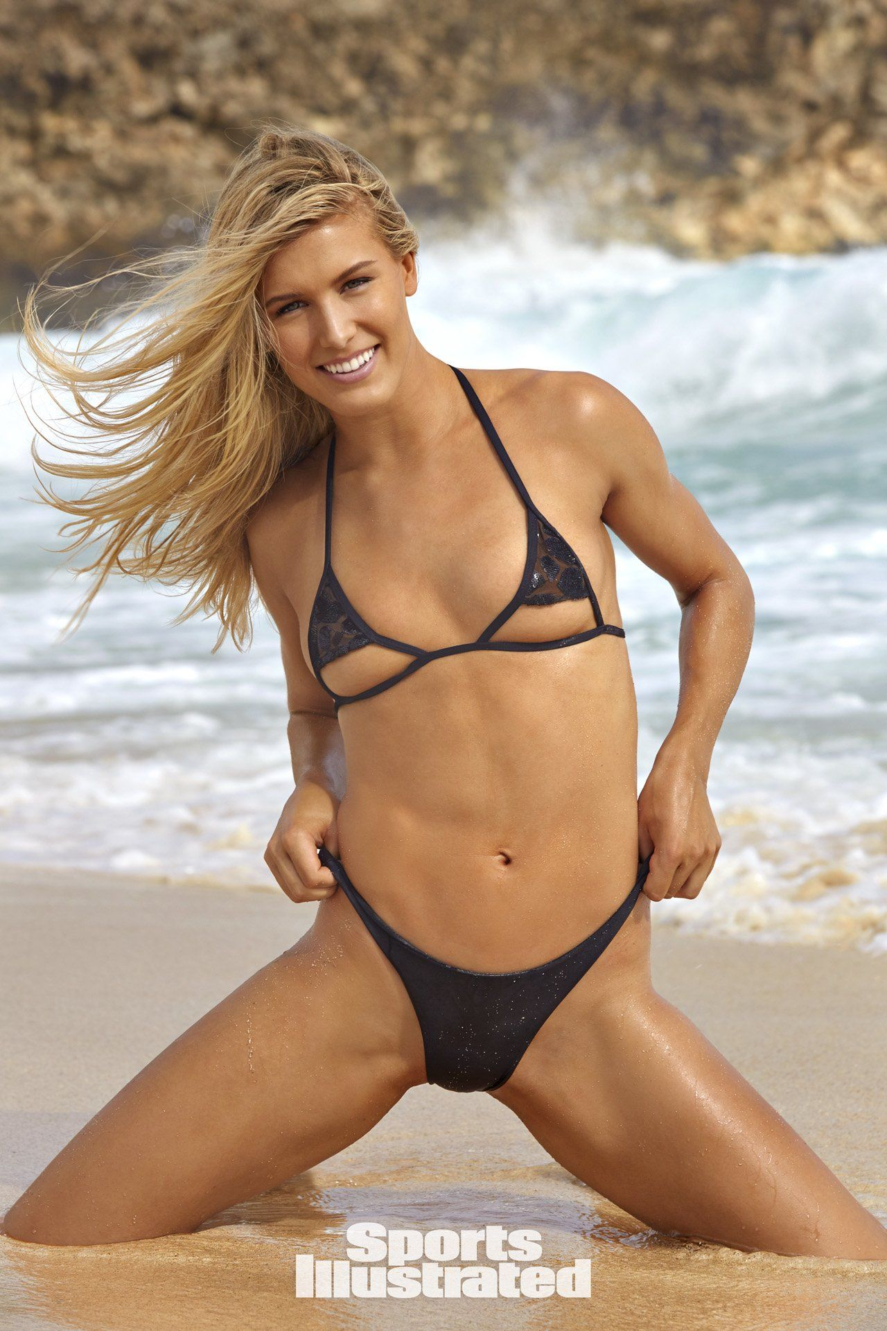 852a541f6ff Genie Bouchard was photographed by James Macari in Aruba. Swimsuit Top by  Haus Of PinkLemonaid. Swimsuit Bottom by Mikoh.