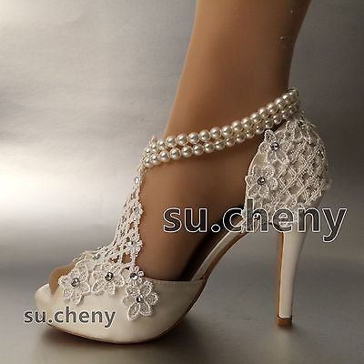 Details About Su Cheny 3 4 Silk White Ivory Lace Peep Toe Pearls
