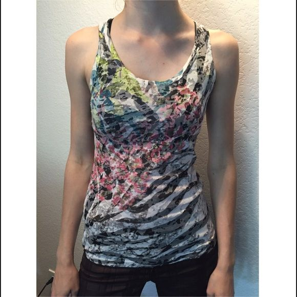 Robin K Tank Top Fun design, slightly sheer. Tag says medium but fits is more on the small side. Tops Tank Tops