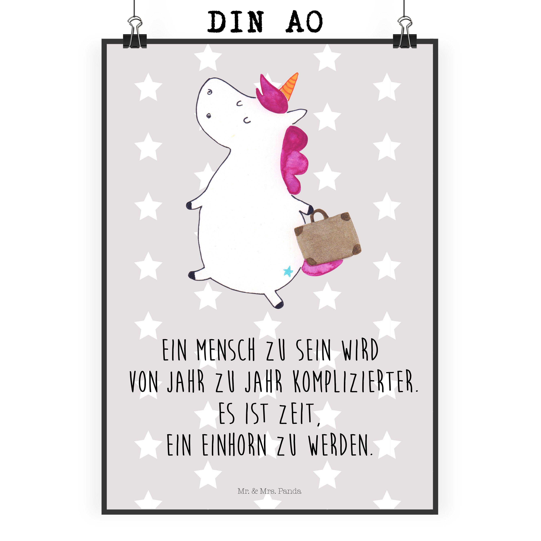 Poster DIN A0 Einhorn Koffer aus Papier 160 Gramm weiß Das Original von Mr & Mrs Panda Jedes wunderschöne Motiv auf unseren Postern aus dem Hause Mr