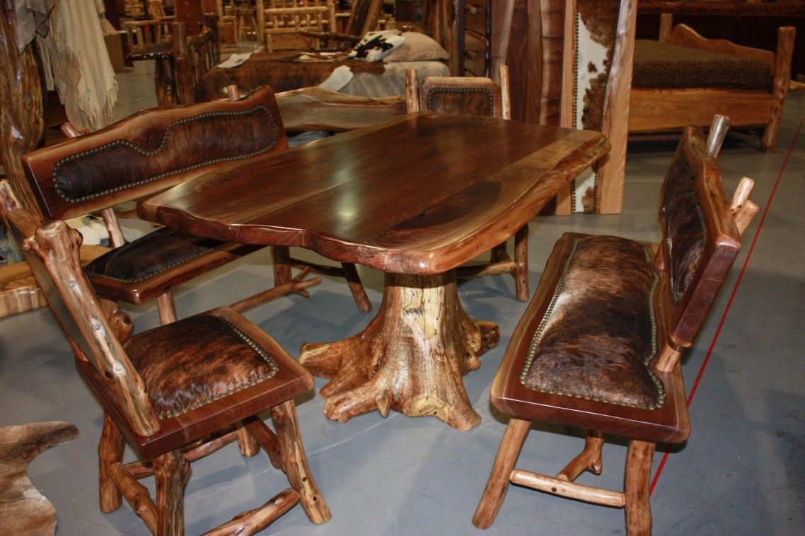 Amazing Log Home Dining Room Furniture Set Ideas With Rustic Long Wooden  Table Custom Handmade Using