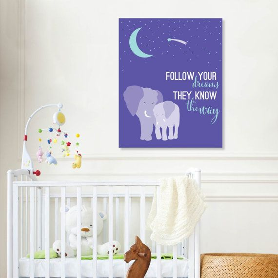 Follow your dreams nursery decor elephant nursery by paperramma